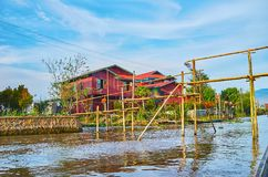 The bamboo bridge, Inle Lake, Myanmar Stock Image