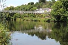 Shaky bridge over river Lee in Cork Ireland Stock Photo