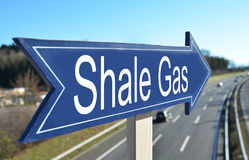 SHALE GAS sign. Pointing to the highway Stock Photos