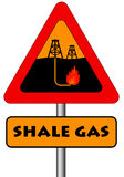 Shale gas. Sign warning for the possible pollution from the extraction of shale gas Royalty Free Stock Photography