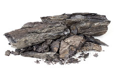 Shale rock over white. Often contain hydrocarbons - oil, gas etc - but controversial fracking is required Stock Photos