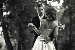 Shall we dance? - Groom leads a bride to dance in a park stock image