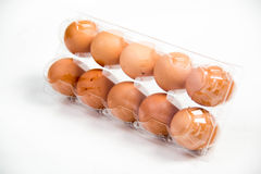 Shall raw eggs On White Background. Royalty Free Stock Photography