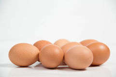 Shall raw eggs On White Background. Stock Photo
