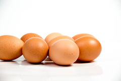 Shall raw eggs On White Background. Stock Photography