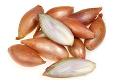 Shallot. Or scallion or griselle - vegetables similar to onion stock image