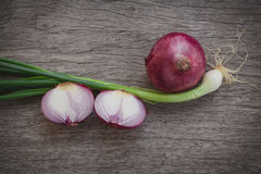 Shallot with garlic plant on old wood texture table. Royalty Free Stock Photography