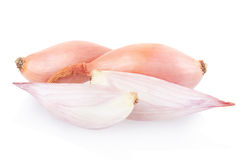 Shallot onions and half on white Stock Image