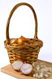 Shallots in basket Stock Photography