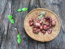 Shallots in basket. It ingredients Stock Photo
