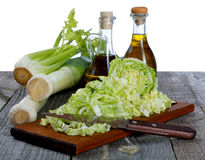 Shallots cabbage and olive oil Stock Image