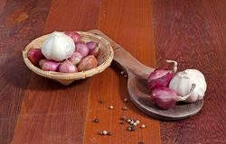 Shallots. Close up of a basket and wood spoon of shallots Royalty Free Stock Images