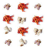 Shallots garlic dry chili pepper. Isolated on white background Royalty Free Stock Photography