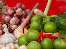 Shallots, garlic, onion, lemon Royalty Free Stock Images