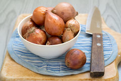 Shallots with knife on wooden cutting board Stock Photos