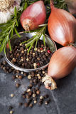 Shallots, Peppercorns, Garlic and Rosemary Royalty Free Stock Photo