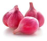 Shallots, Raw and uncooked on white background Royalty Free Stock Photography