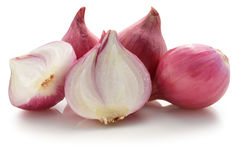 Shallots, Raw and uncooked on white background Royalty Free Stock Images