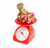 Shallots on the scales Stock Images