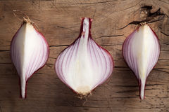 Shallots still life wood background. Onion bulb season herb vegetable ingredient Royalty Free Stock Photography