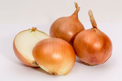 Shallots on a white background. Shallots on white background. whole and bisected Royalty Free Stock Photo