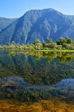 Shallow bay on South part of Lake Teletskoye  in Altay Stock Images