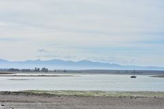 Shallow bays at low tide. Shallow bays around Nelson at low tide with hills in background hiding in haze Stock Photo