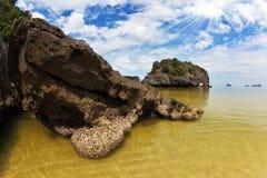 Shallow beautiful beach a small island Royalty Free Stock Photo