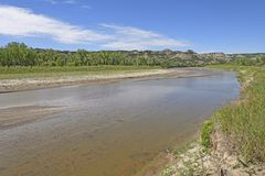 Shallow Bend in a Badlands River Royalty Free Stock Images