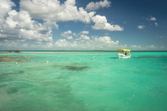 Shallow blue waters. Shallow blue water and a tourist boat Stock Images
