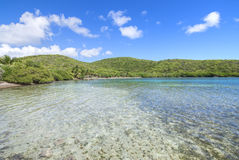 Shallow Caribbean bay and rolling hills. Calm shallow water of Melena Bay with rolling green hills on Isla Culebra in Puerto Rico under sunny blue sky Royalty Free Stock Images