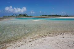 Shallow channel hoa atoll Tuamotu French Polynesia Royalty Free Stock Photo