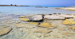 Shallow clear sea at Elafonisi, Crete Royalty Free Stock Image