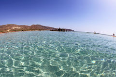 Shallow clear sea at Elafonisi, Crete Royalty Free Stock Images