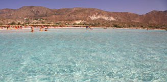 Shallow clear sea with pink sand at Elafonisi, Crete Royalty Free Stock Image