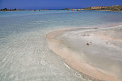 Shallow clear sea with pink sand at Elafonisi, Crete Stock Image