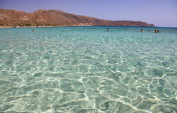 Shallow clear sea with pink sand at Elafonisi, Crete Royalty Free Stock Photography