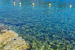 Shallow coastline from Greek Island of Cephalonia. Royalty Free Stock Image