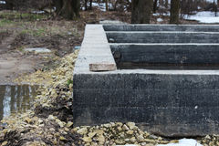 Shallow concrete foundation stone for the construction of the house Royalty Free Stock Photo