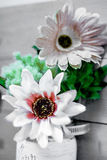 Shallow Depth of Field Fabric Flower on Wooden Slat Frame Stock Images