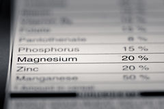 Shallow depth of Field image of Nutrition Facts. Magnesium Information we can find on a grocery Store Product Royalty Free Stock Photography