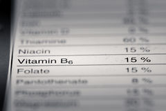 Shallow depth of Field image of Nutrition Facts. Vitamin B6 Information we can find on a grocery Store Product Royalty Free Stock Photography