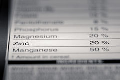 Shallow depth of Field image of Nutrition Facts. Zinc Information we can find on a grocery Store Product Royalty Free Stock Photography