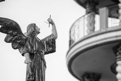 Shallow Focus Architectural Photography of Angel Statue stock image