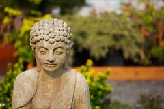 Shallow focus Buddha garden Stock Photo