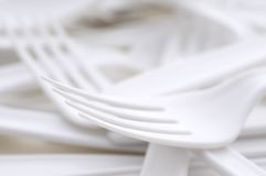 Shallow focus closeup of a plastic utensils Stock Images