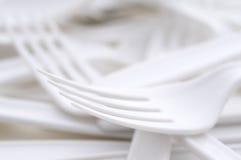 Shallow focus closeup of a plastic utensils. Shallow focus extreme closeup of a plastic utensils stock images