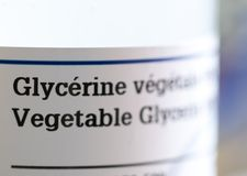 Close up of label on vegetable glycerin bottle royalty free stock image