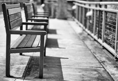 Shallow focus Green metal Benches Stock Photography
