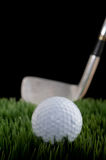Shallow focus image of a golf ball and club. Vertical shallow focus image of a golf ball and club on grass royalty free stock photo